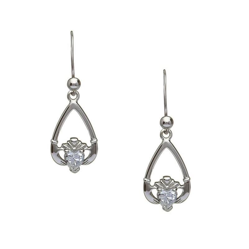 April-Cubic Zirconia Birthstone Claddagh Earring