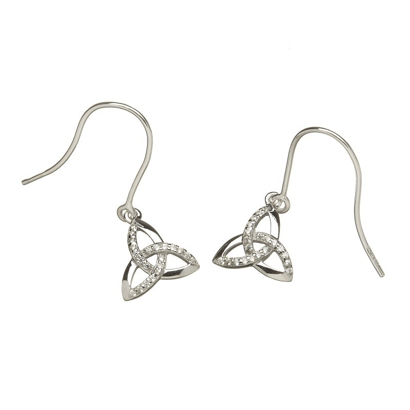 Argent Stone Set Trinity Knot Irish Earrings
