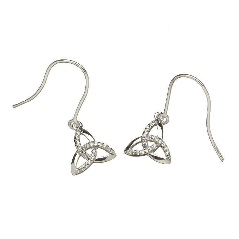 Argent Stone Set Trinity Knot Irish Earrings