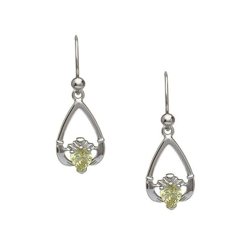 August-Peridot Birthstone Claddagh Earrings
