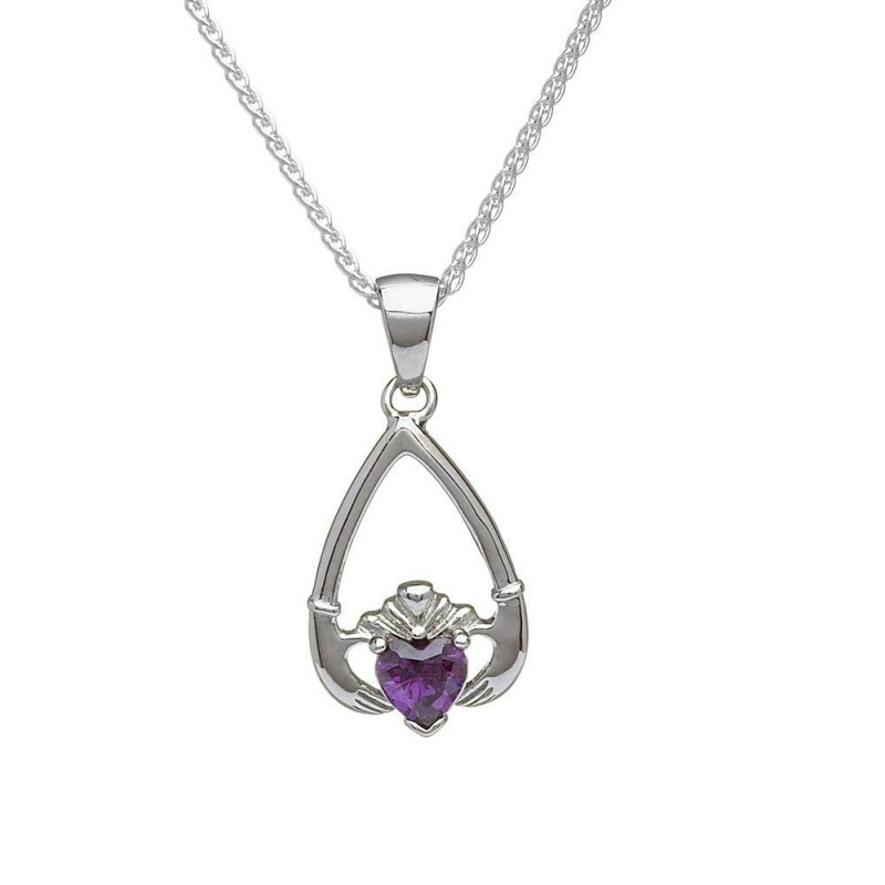 Birthstone Claddagh Pendant February-Amethyst