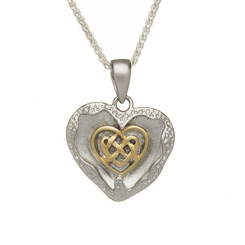 Brushed Celtic Heart Irish Pendant