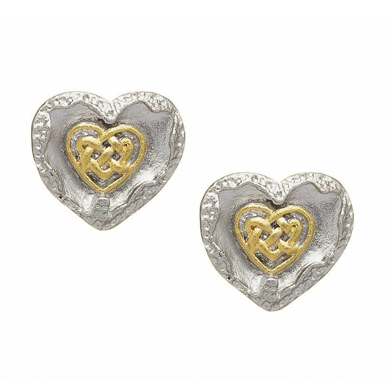 Brushed Irish Celtic Heart Earrings