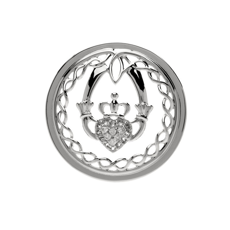 Celtic Knot Claddagh Disc for Interchangeable Pendant