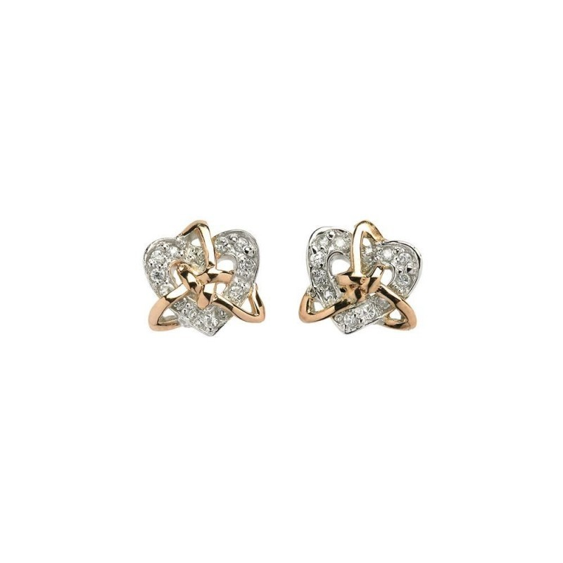 Celtic Trinity Heart Earrings with CZ