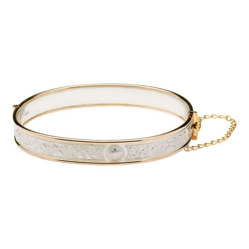 Celtic Warrior Silver and Rolled Gold Irish Bangle Bracelet