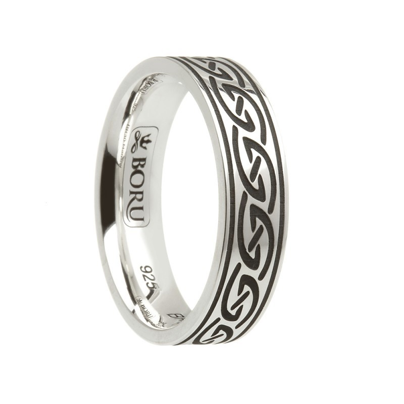 Celtic Waves Etched Irish Wedding Band Sterling Silver