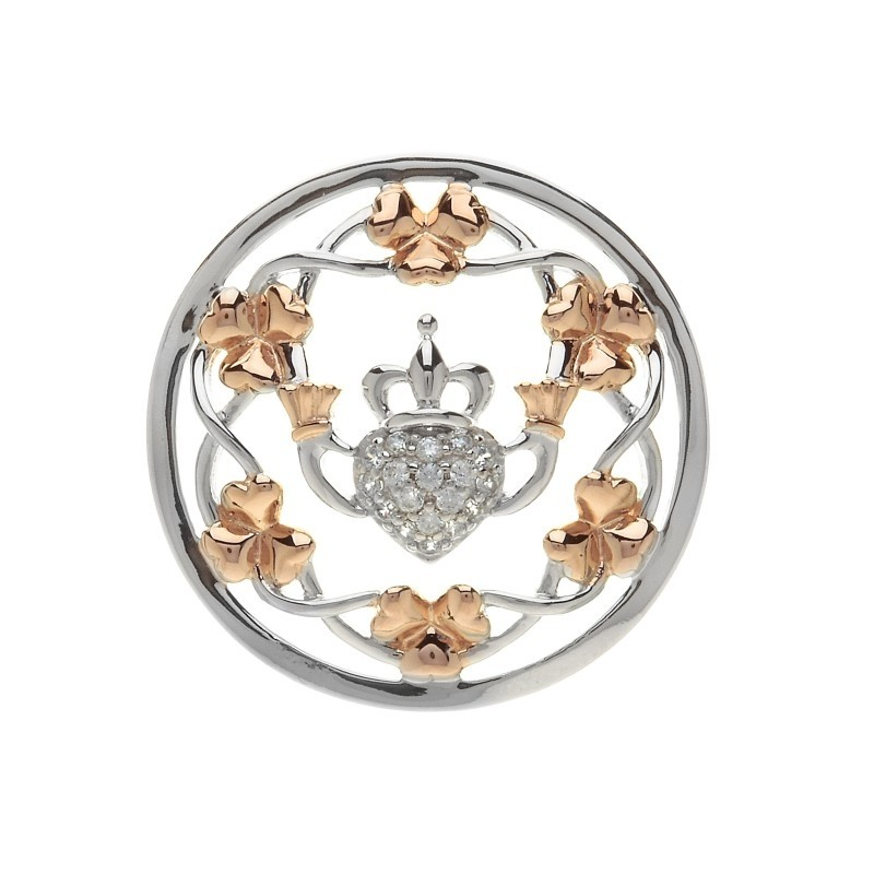 Claddagh and Shamrock Disc for Interchangeable Pendant