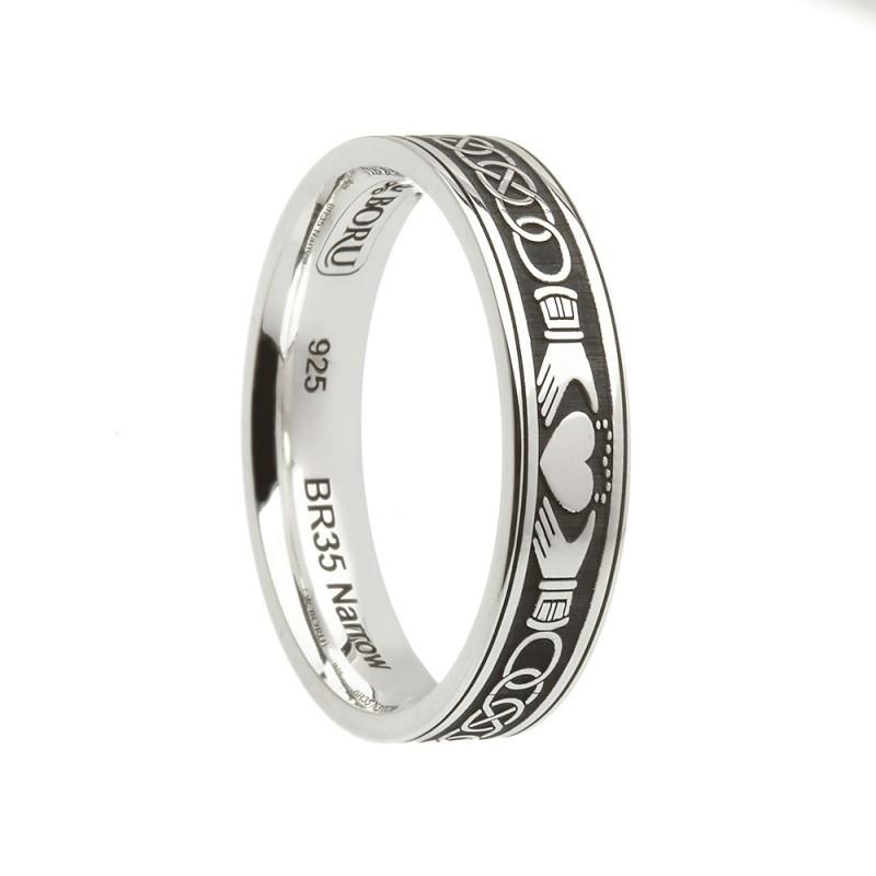 03f8612a374 SKU BR35N. Claddagh Celtic Knot Etched Irish Wedding Band Sterling Silver
