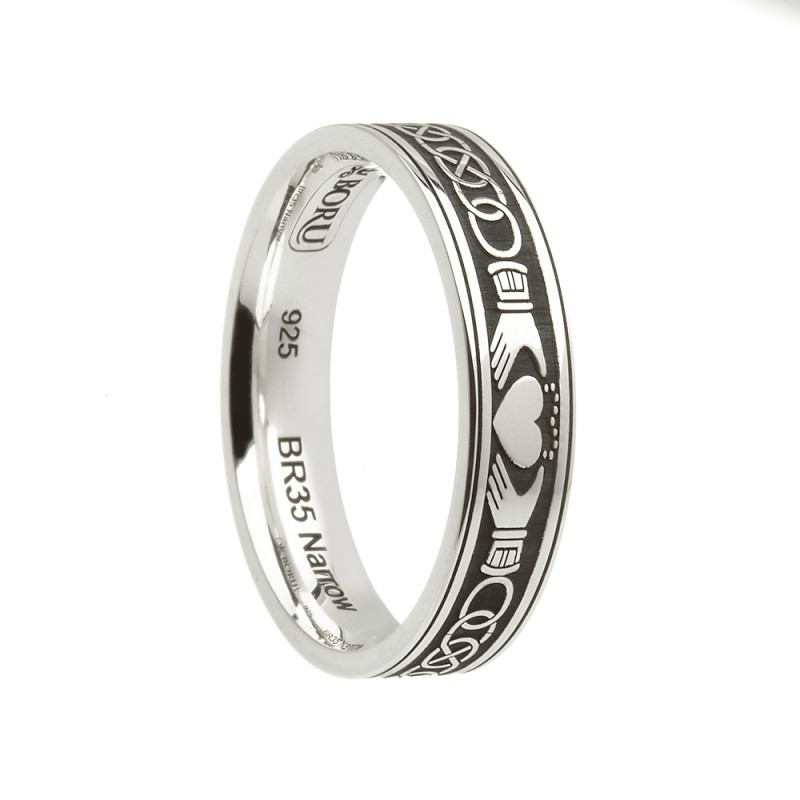 Claddagh Celtic Knot Etched Irish Wedding Band Sterling Silver