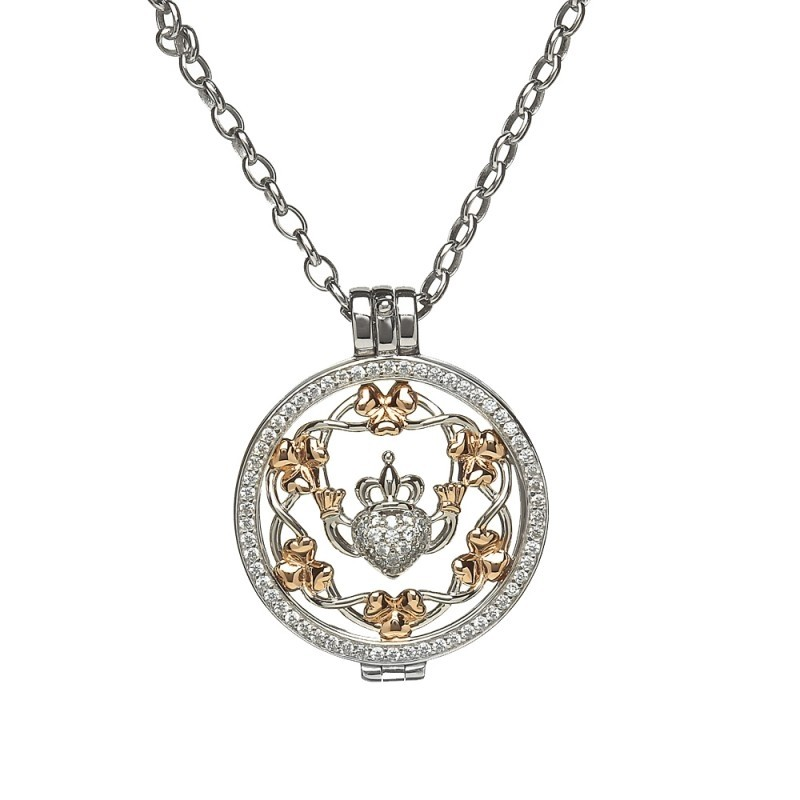 Claddagh & Shamrock Disc Irish Pendant
