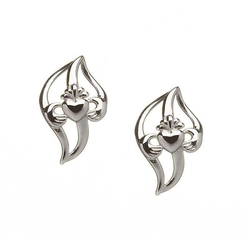 Curved Leaf Claddagh Earrings