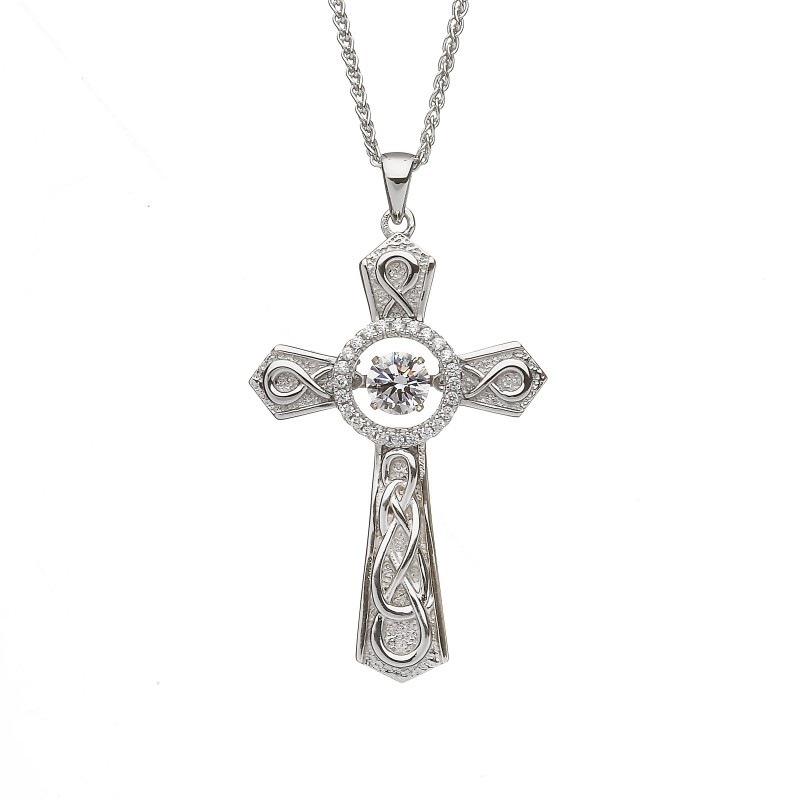 Damhsa Celtic Cross Necklace with Dancing CZ