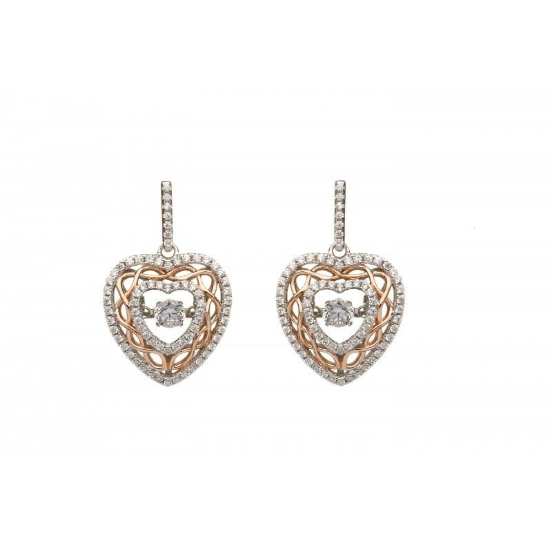 Damhsa Celtic Knot Heart Dancing CZ Irish Earrings