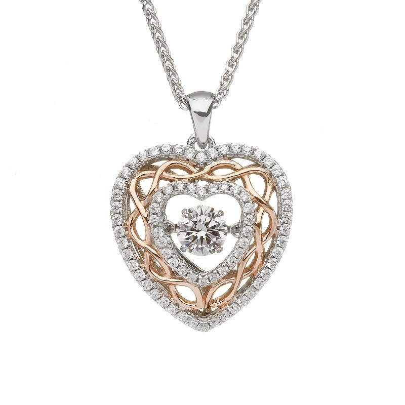 Damhsa Celtic Knot Heart Dancing CZ Irish Pendant
