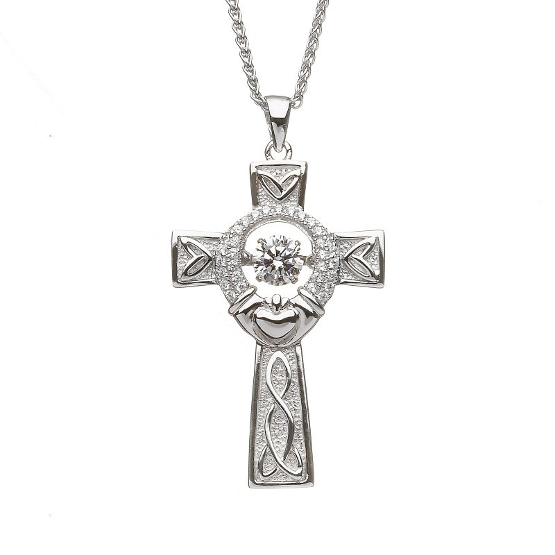 Damhsa Claddagh Celtic Cross with Dancing CZ