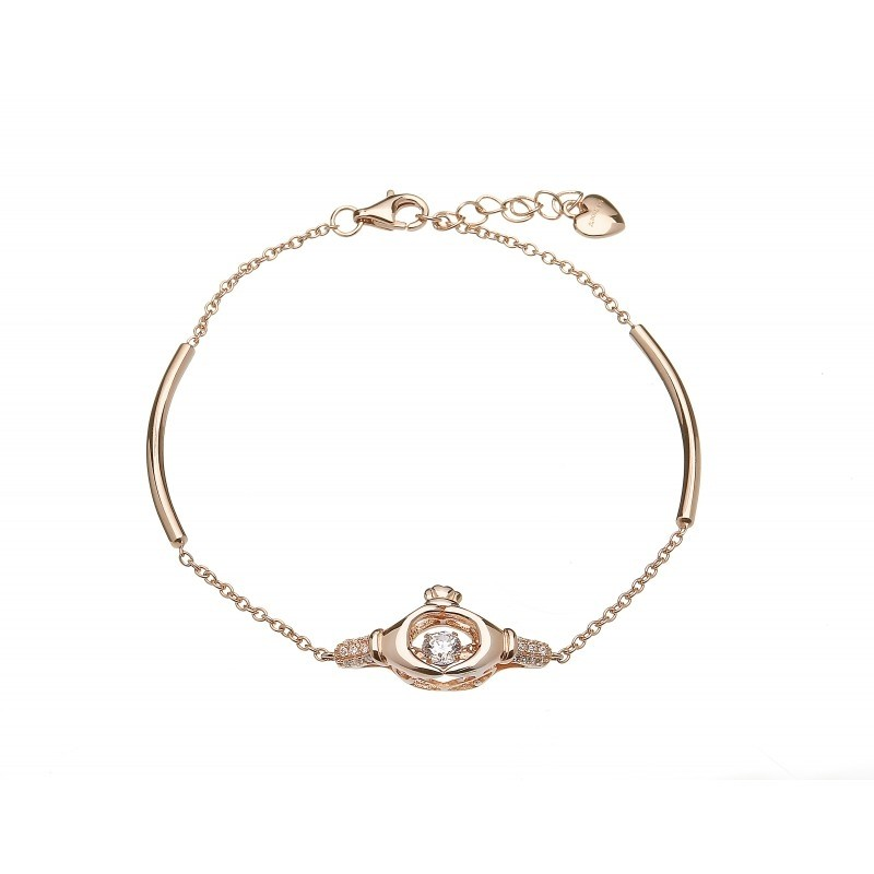 Damhsa Rose Claddagh Dancing CZ Irish Bracelet
