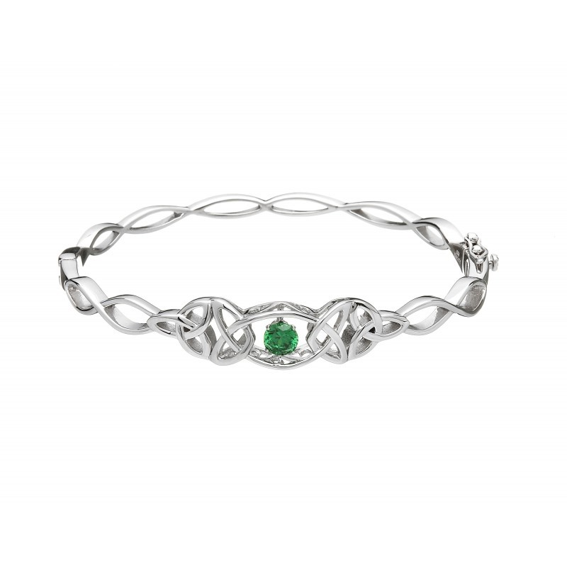 Damhsa Trinity with Green Dancing CZ Irish Bracelet
