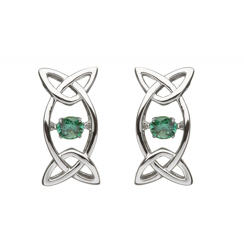 Damhsa Trinity with Green Dancing CZ Irish Earrings