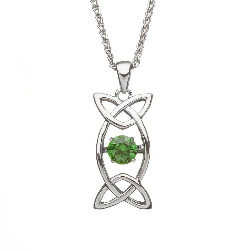 Damhsa Trinity with Green Dancing CZ Irish Pendant