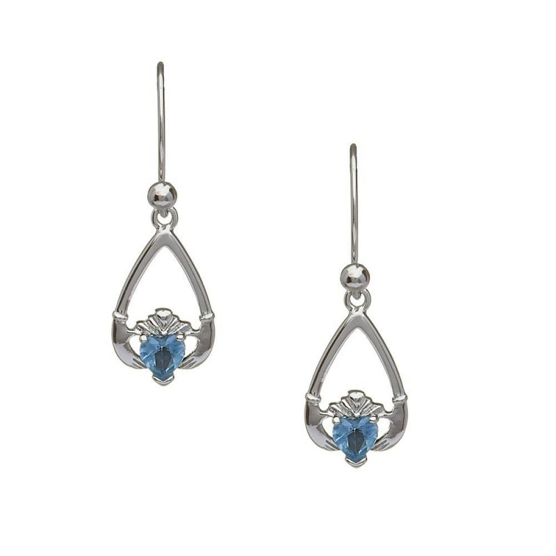 December-Blue Topaz Birthstone Claddagh Earrings