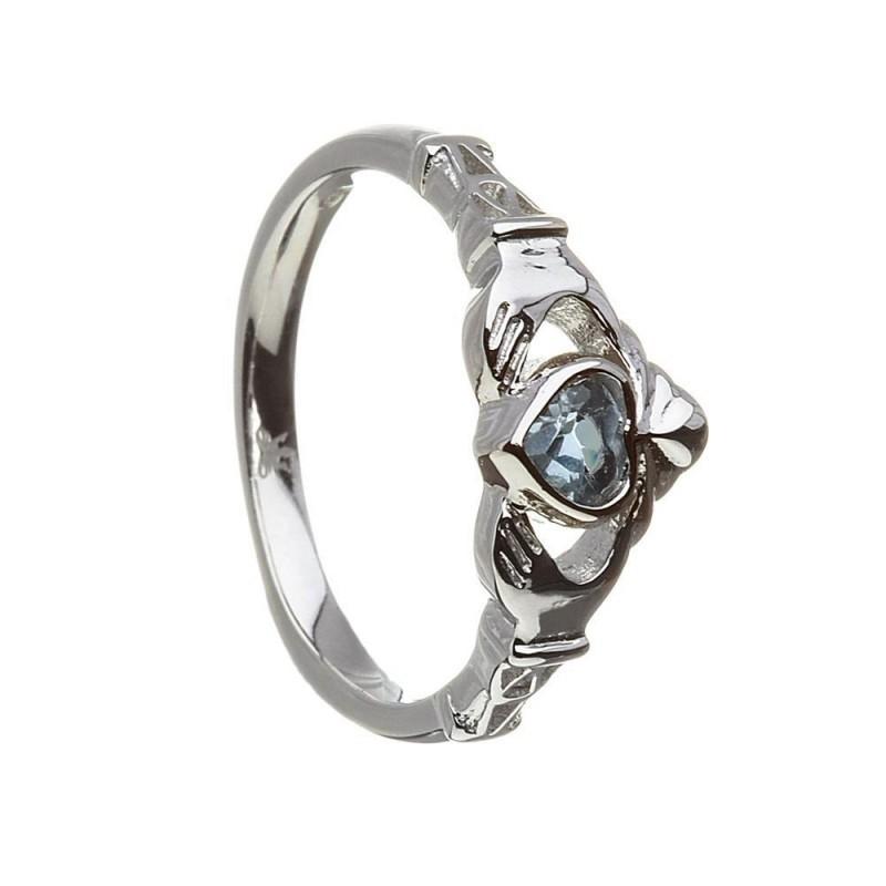December-Blue Topaz Birthstone Claddagh Ring