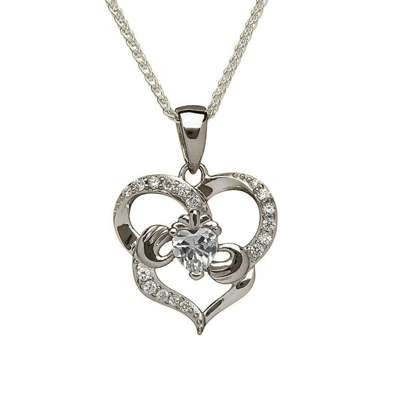 Delicate Claddagh Heart Irish Pendant