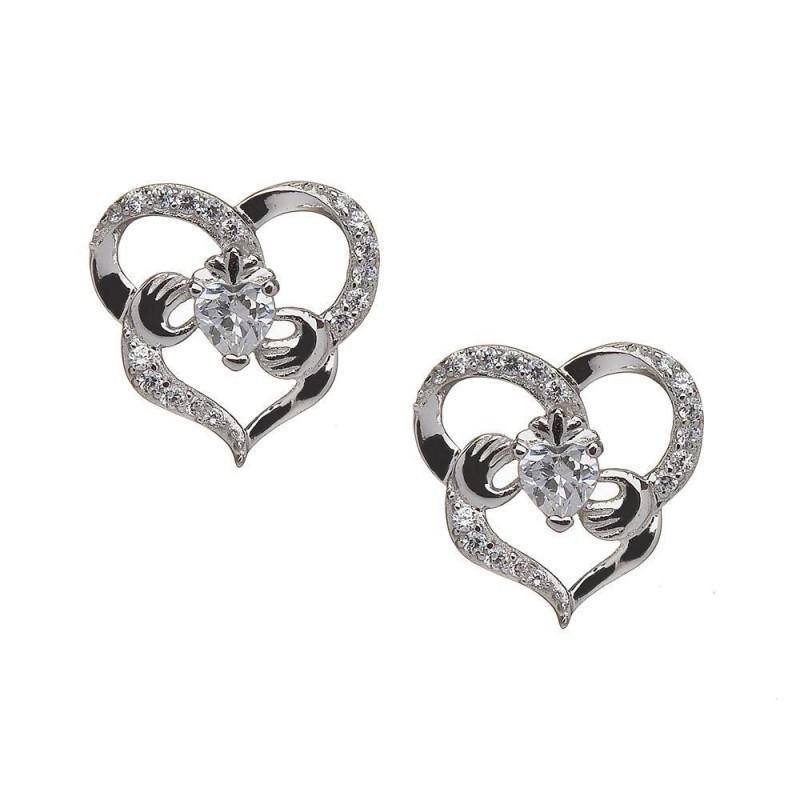 Delicate Irish Claddagh Heart Earrings with CZ