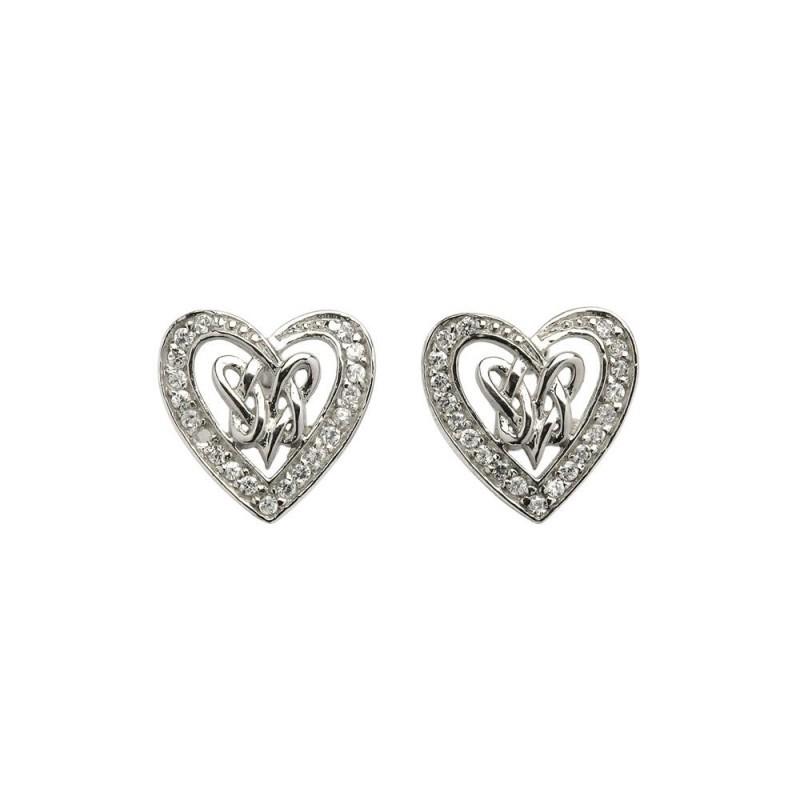 Double Intertwined Heart Irish Earrings