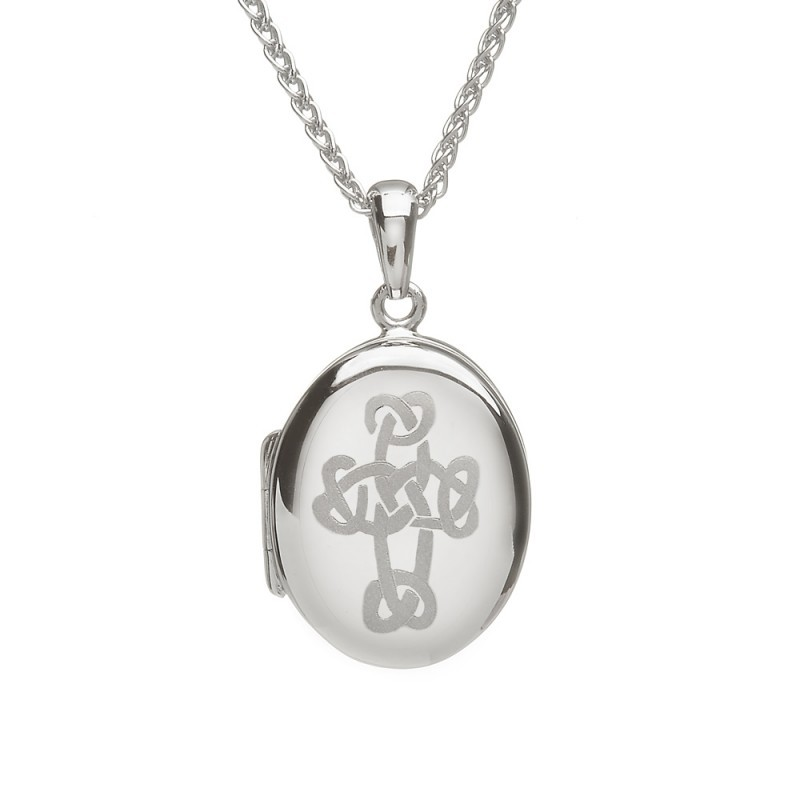 Engraved Irish Celtic Cross Locket