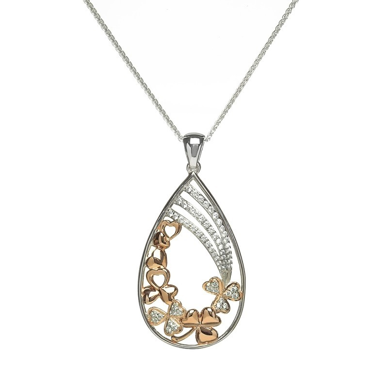 Fallen Shamrock Irish Pendant with Cubic Zirconia