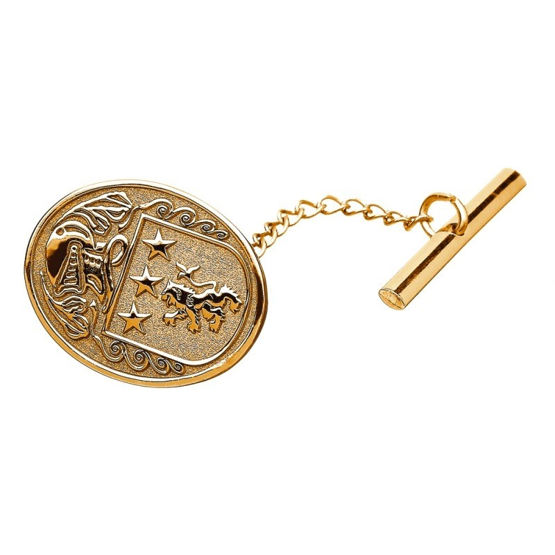 Family Coat of Arms Oval Tie Tac - Large 14k Gold