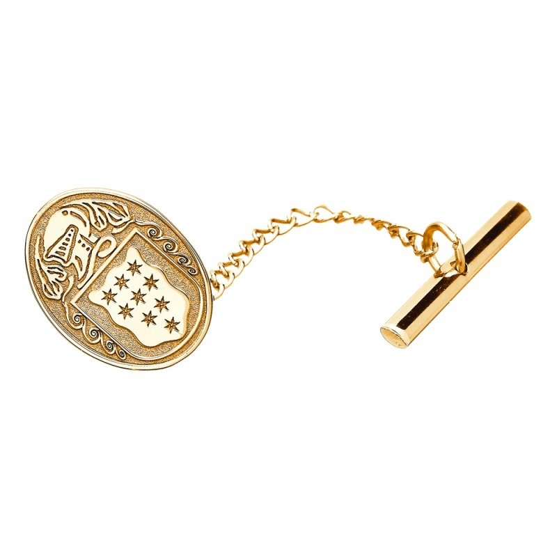 Family Coat of Arms Oval Tie Tac - Medium 14k Gold