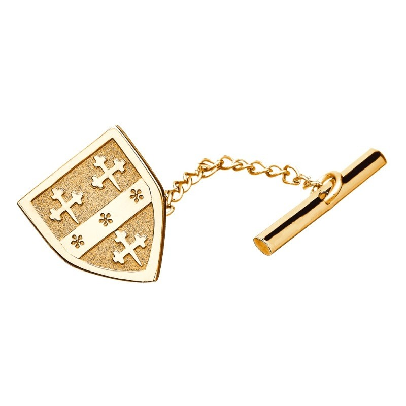 Family Coat of Arms Personalized Shield Tie Tac 14k Gold