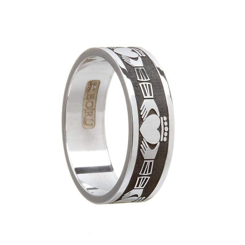 Gents Claddagh Wedding Band Sterling Silver