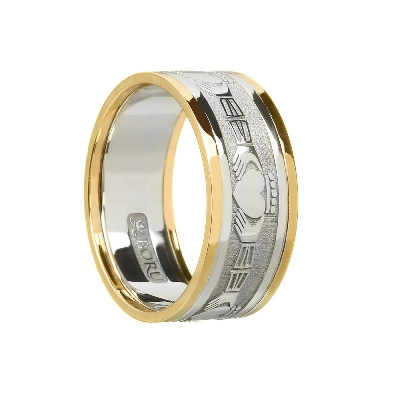 Gents Claddagh Wedding Band White Yellow Gold Two Tone