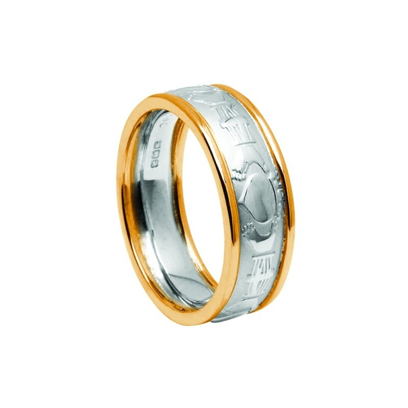 Gents Court Claddagh Band White Yellow Two Tone