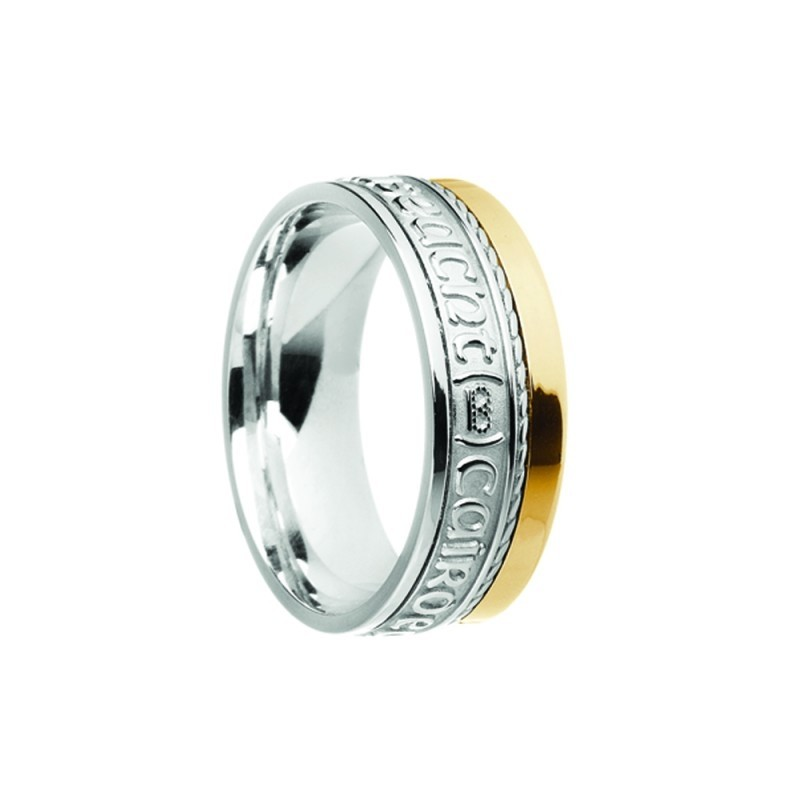 Grá Dilseact Cairdeas Siorai II Love Loyalty Friendship Irish Ring White Yellow Gold