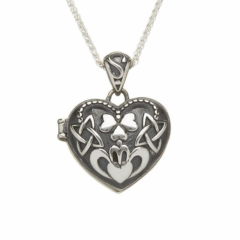 Heart Shamrock Claddagh Irish Locket Pendant