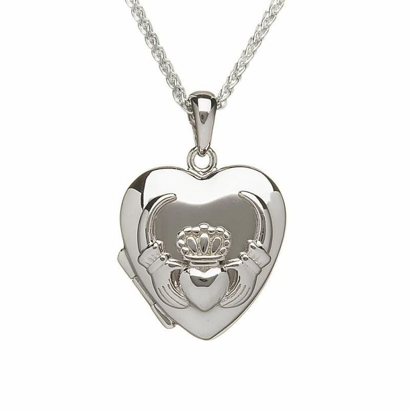 Heart Shaped Embossed Irish Claddagh Locket Pendant