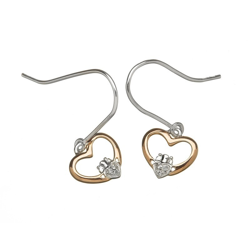 Heart Shaped Irish Claddagh Earrings with CZ