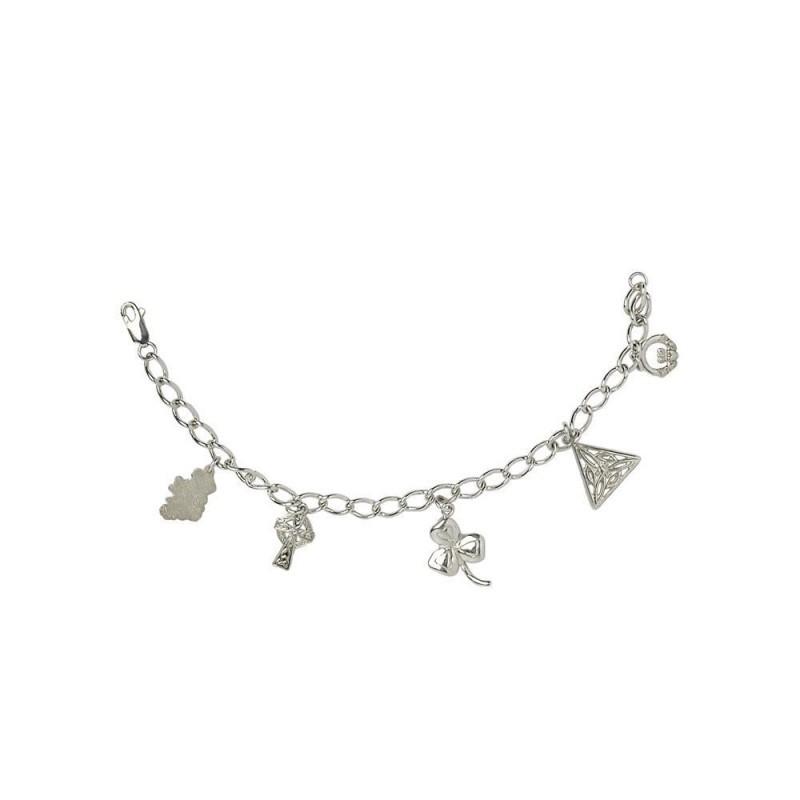 Distinctive Irish Charm Bracelet with Five Charms