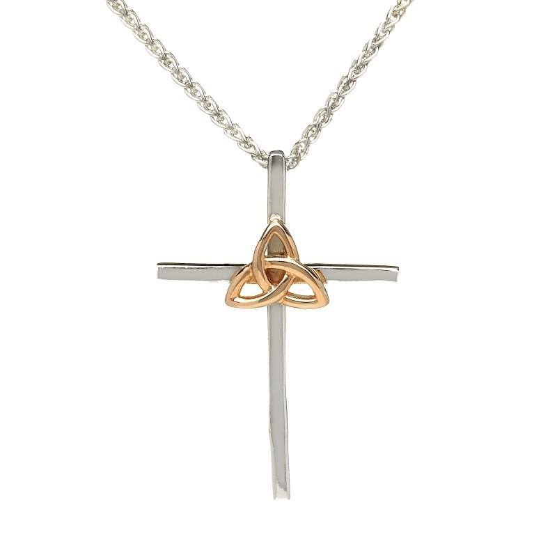 Irish Rose Trinity Cross Pendant