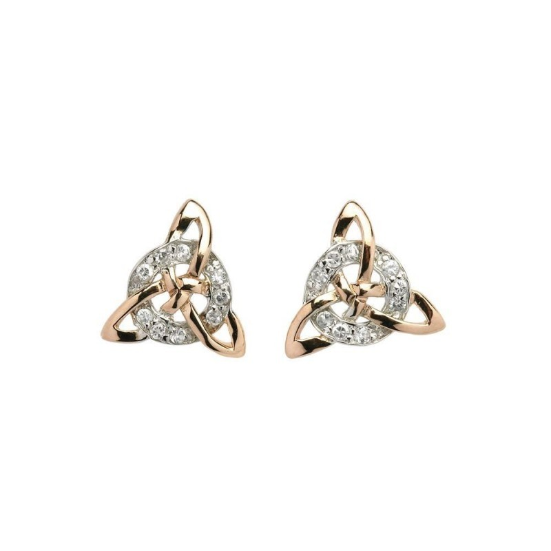 Irish Trinity Knot Circle Earrings with Sparkling CZ