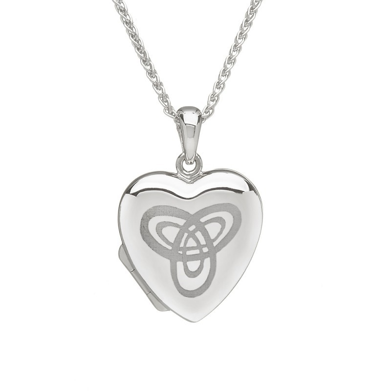 Irish Trinity Knot Heart Engraved Locket Pendant