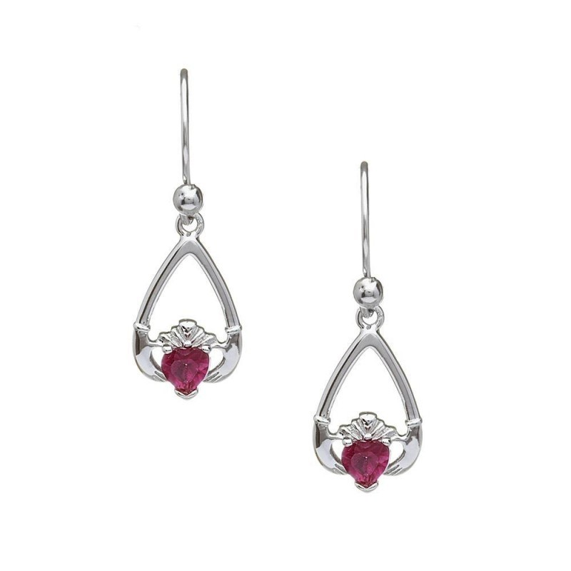 July-Ruby Birthstone Claddagh Earrings