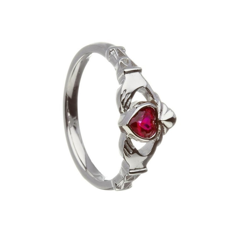 July-Ruby Birthstone Claddagh Ring