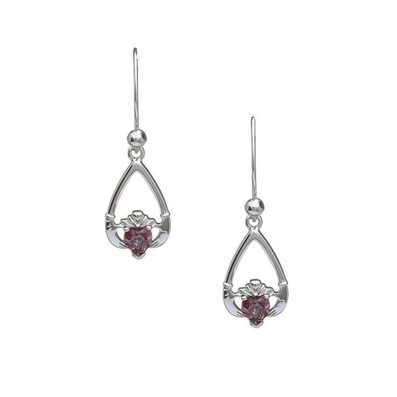June-Alexandrite Birthstone Claddagh Earrings