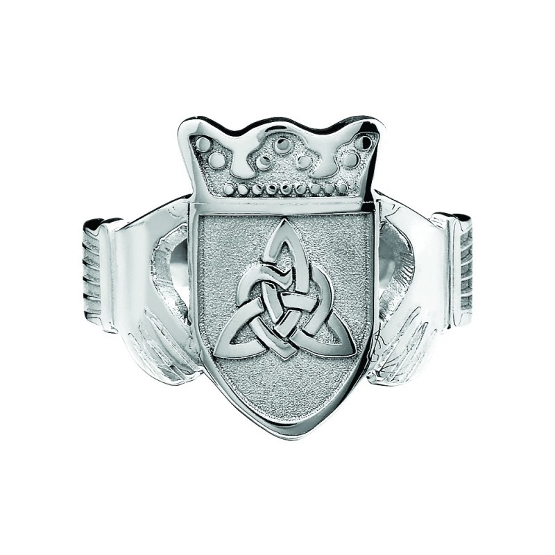 Ladies Family Coat of Arms Claddagh Ring Sterling Silver