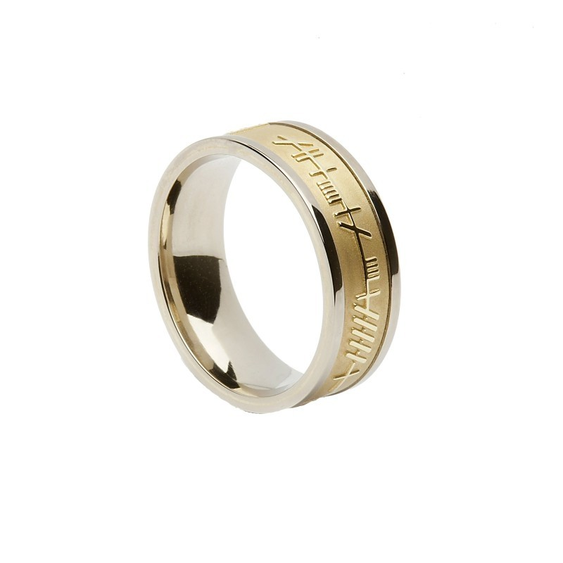 Ladies Ogham Trinity Knot Irish Wedding Ring Yellow White
